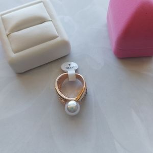 White Pearl & Crystal Gold Ring
